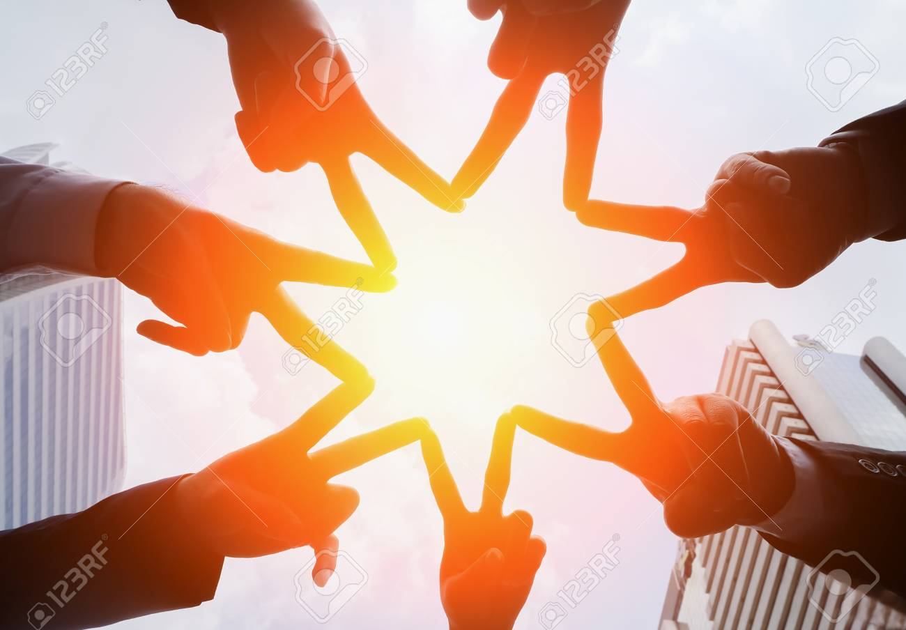 Circle People Hand Assemble Corporate Meeting Teamwork Concept,successful, mission complete, achievement, - 75617615