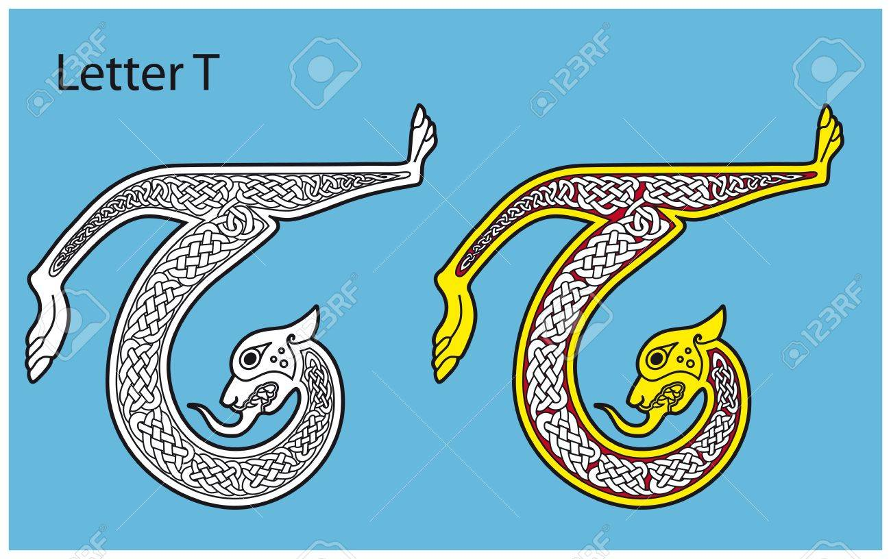 Ancient Celtic alphabet (26 letters) Stock Vector - 8504010