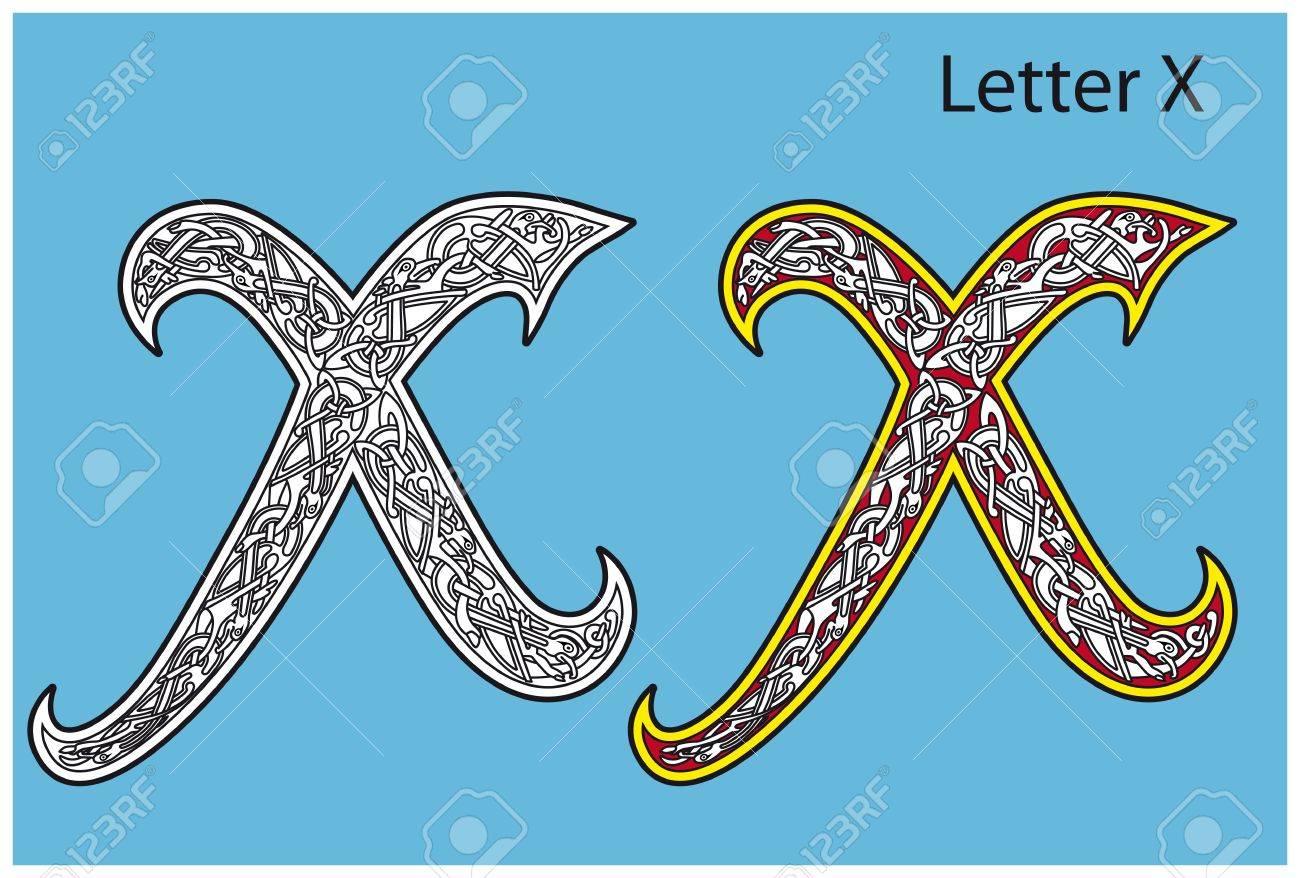 Ancient Celtic alphabet (26 letters) Stock Vector - 8504040