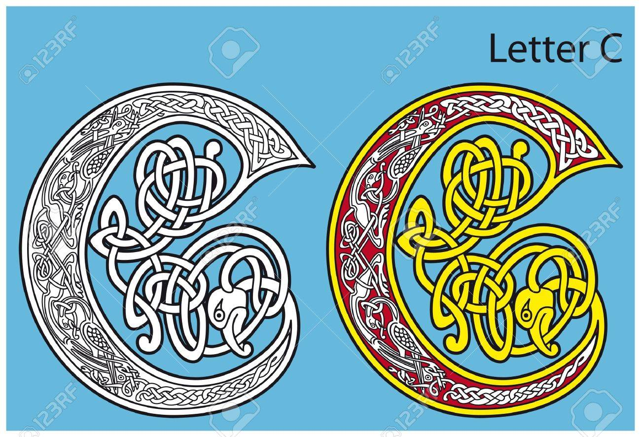 Ancient Celtic alphabet (26 letters) Stock Vector - 8504013