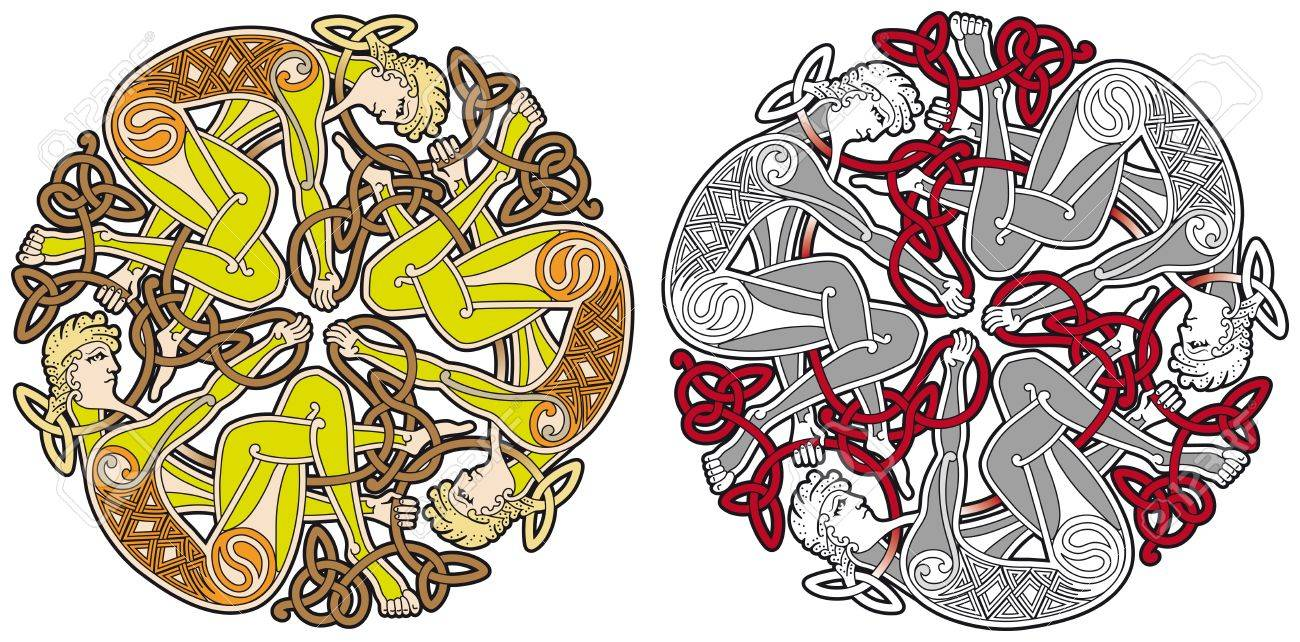 Detailed celtic design element with human Stock Vector - 8504086
