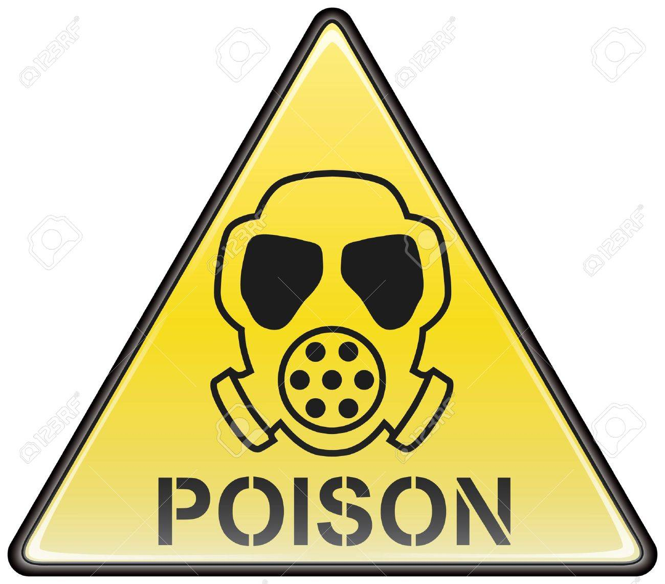 Poison gas mask vector triangle hazardous sign - 8504311