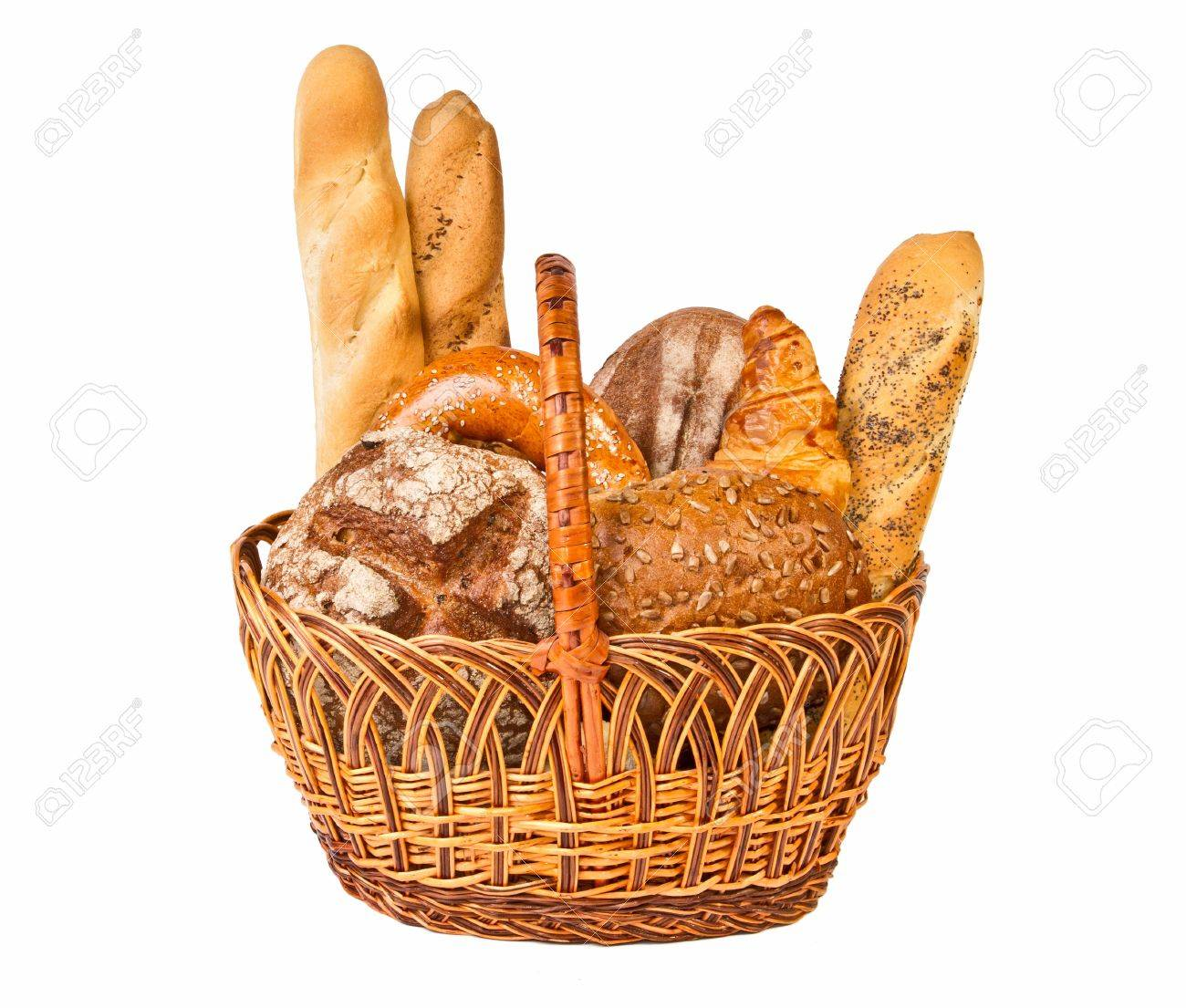 Woven basket with different kind of bread isolated on white background Stock Photo - 9407391
