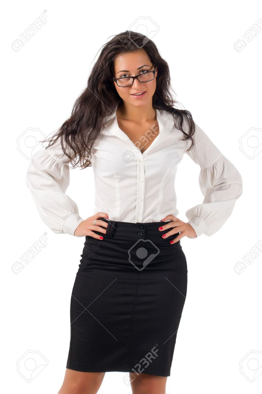 b5ecd33d829 Dark haired white blouse and black skirt dressed young business woman with  black glasses on white