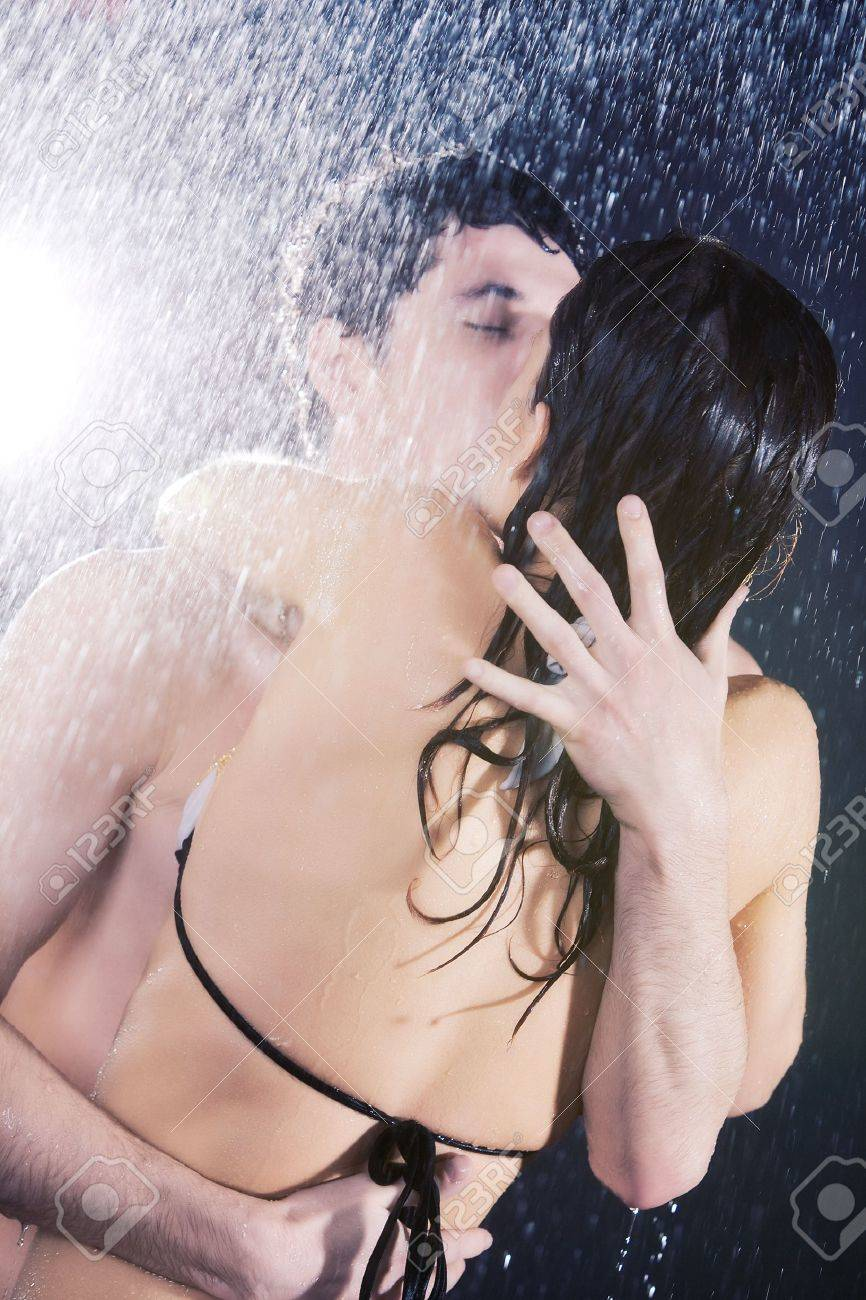 Young sexy couple passion. Water studio photo. Stock Photo - 5406702