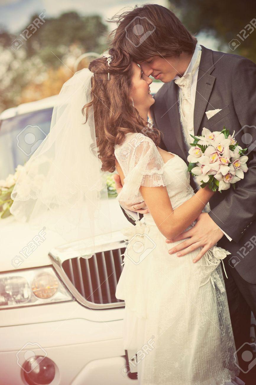 Young wedding couple portrait. Retro style colors. Stock Photo - 8964049