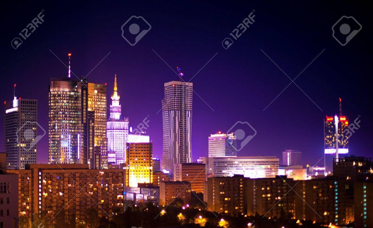 Warsaw Poland city at night Stock Photo - 18678799