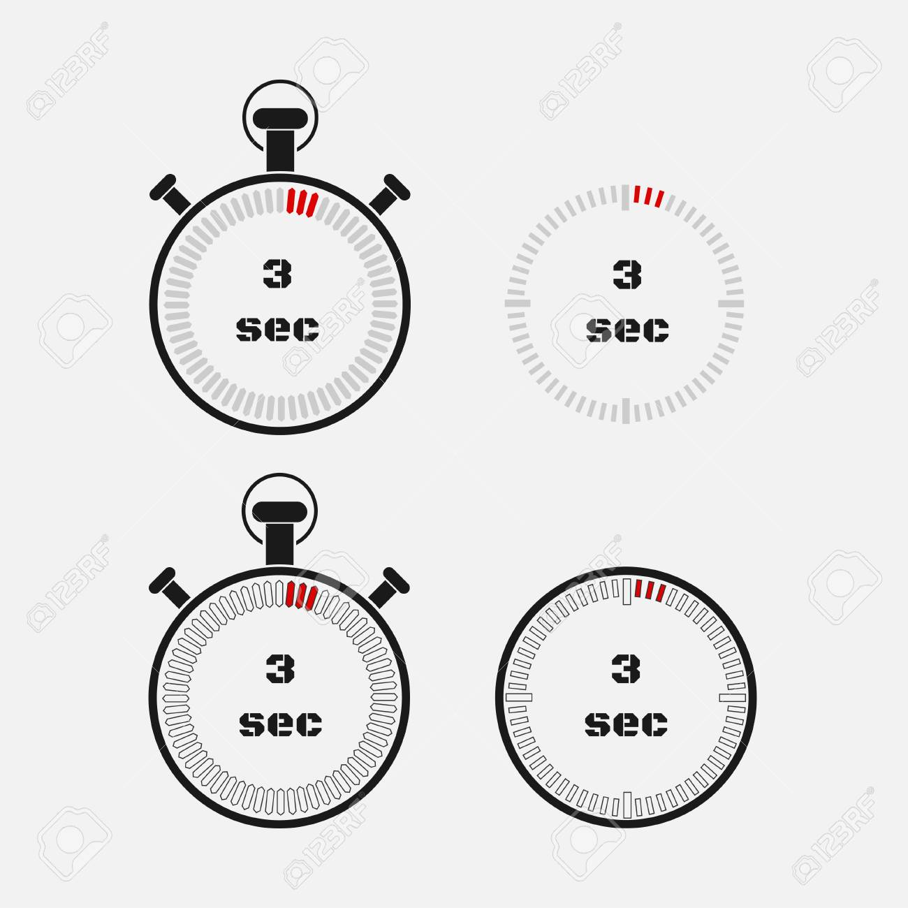 timer 3 seconds on gray background stopwatch icon set timer