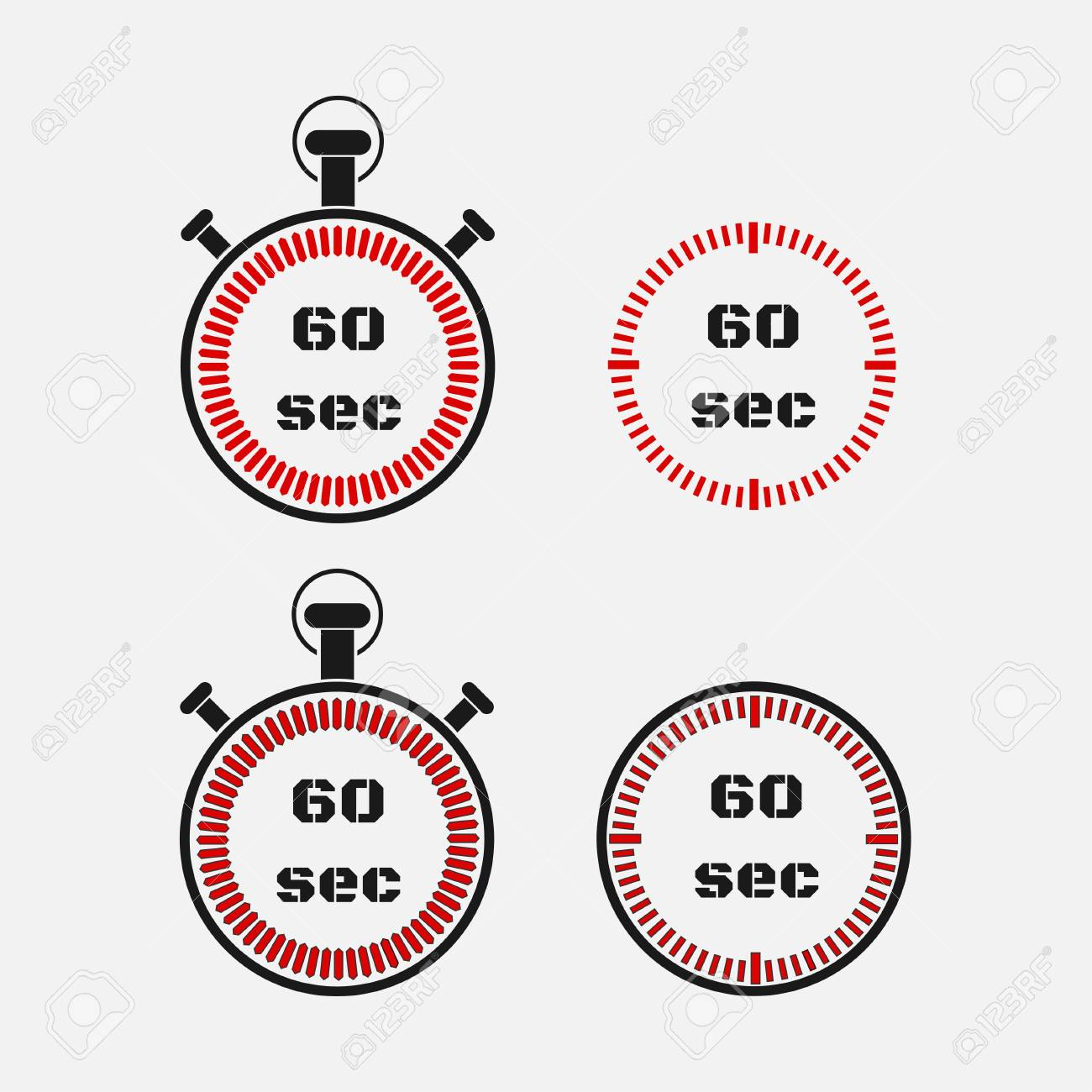 timer 60 seconds on gray background stopwatch icon set timer