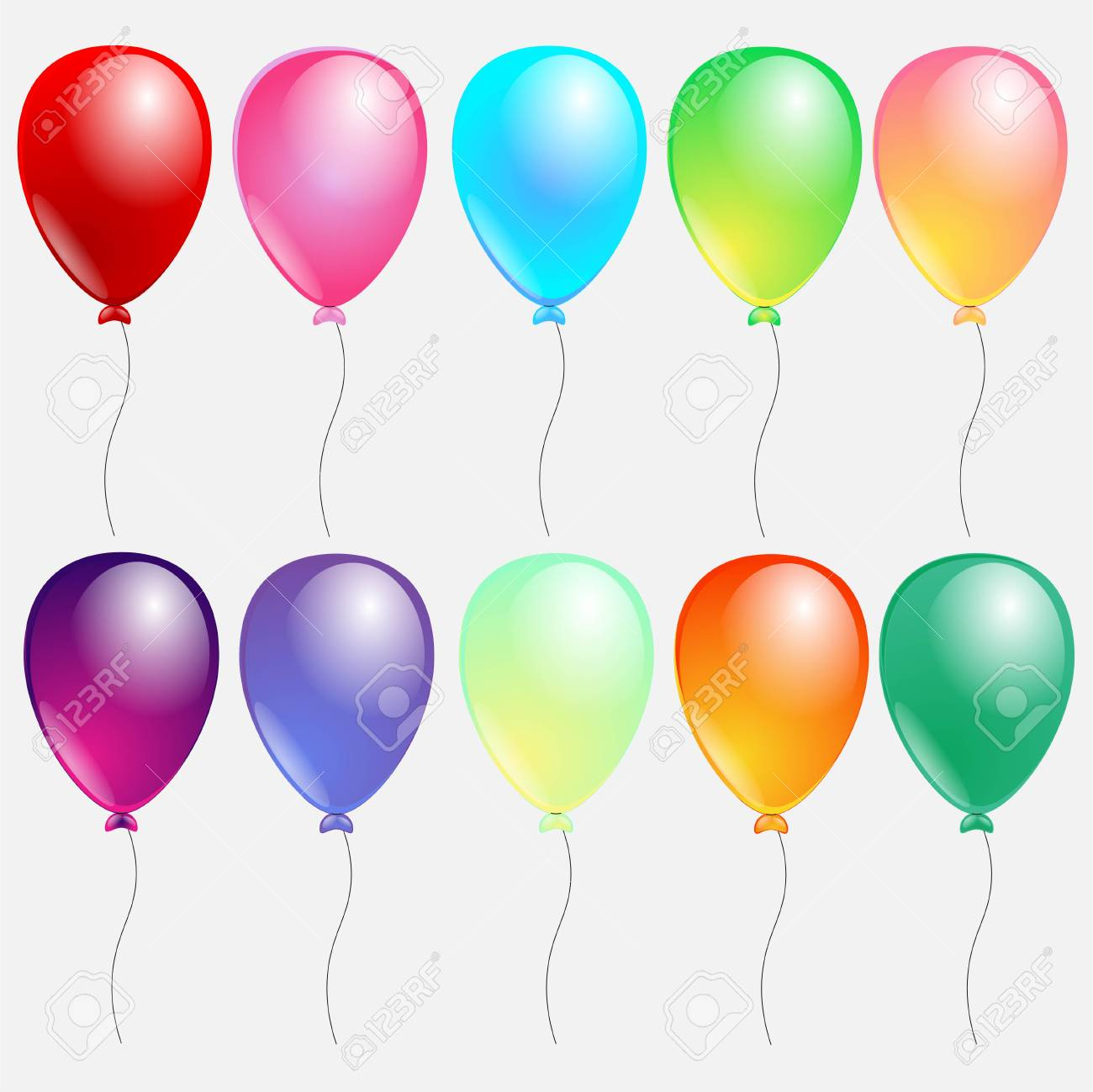 Set Of Colorful Balloons Decoration For The Holiday A Festival And