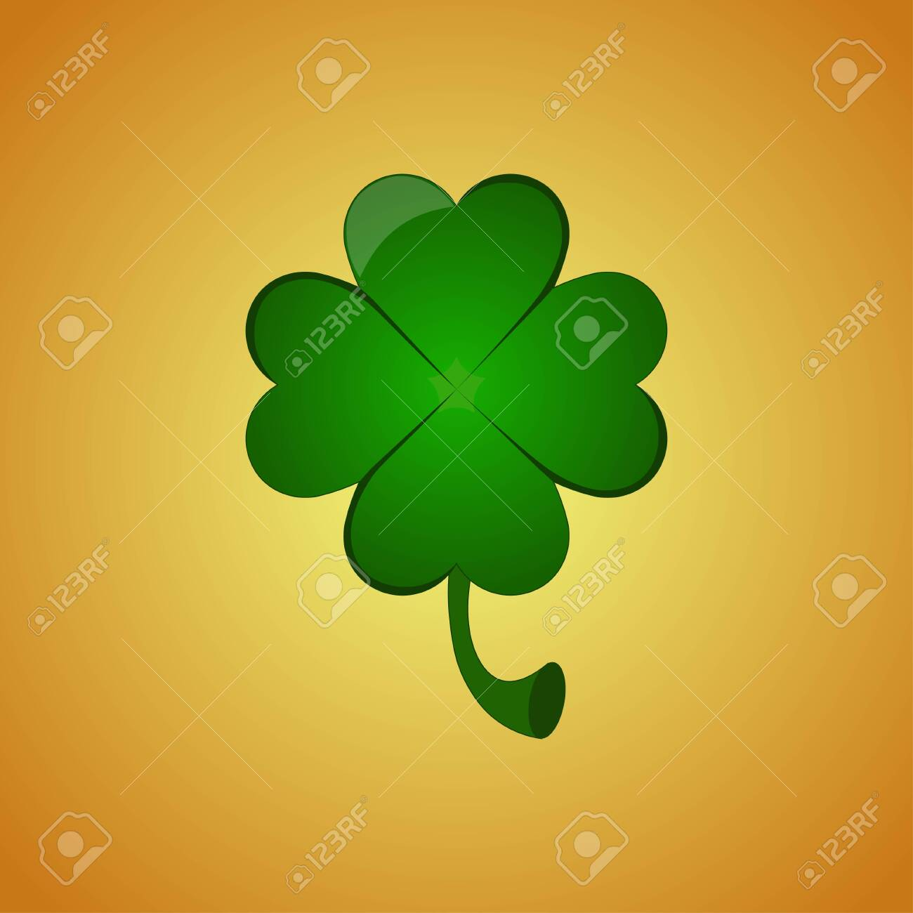 Four leaf clover on orange background. Greeting card for St. Patrick's Day. Vector illustration EPS 10. - 146542002