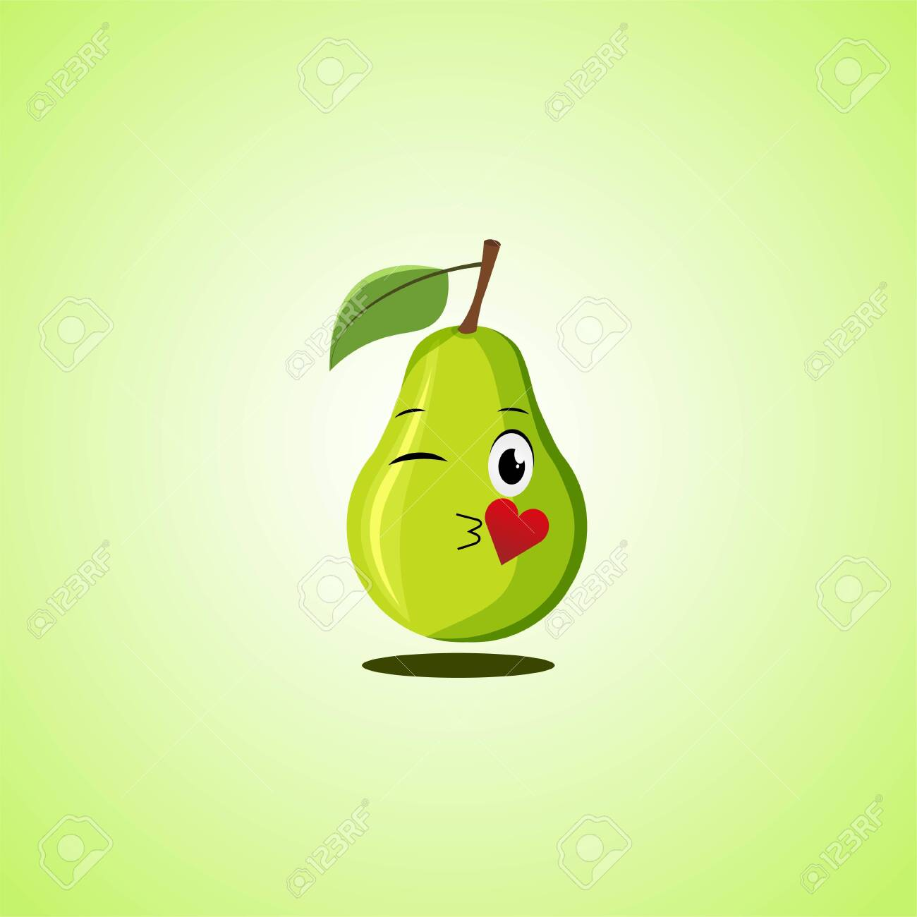 Cartoon Symbol pear sending an air kiss. Cute smiling pear icon isolated on green background. Vector illustration EPS 10. - 146542064