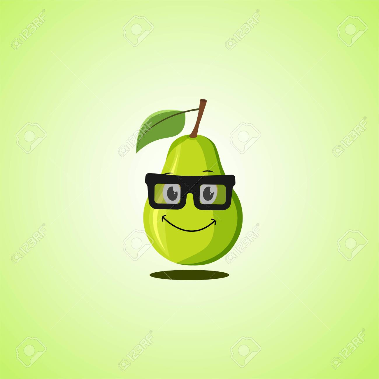 Yellow simple smile cartoon pear symbol in glasses. Cute smiling pear icon isolated on green background. Vector illustration EPS 10 - 146542049