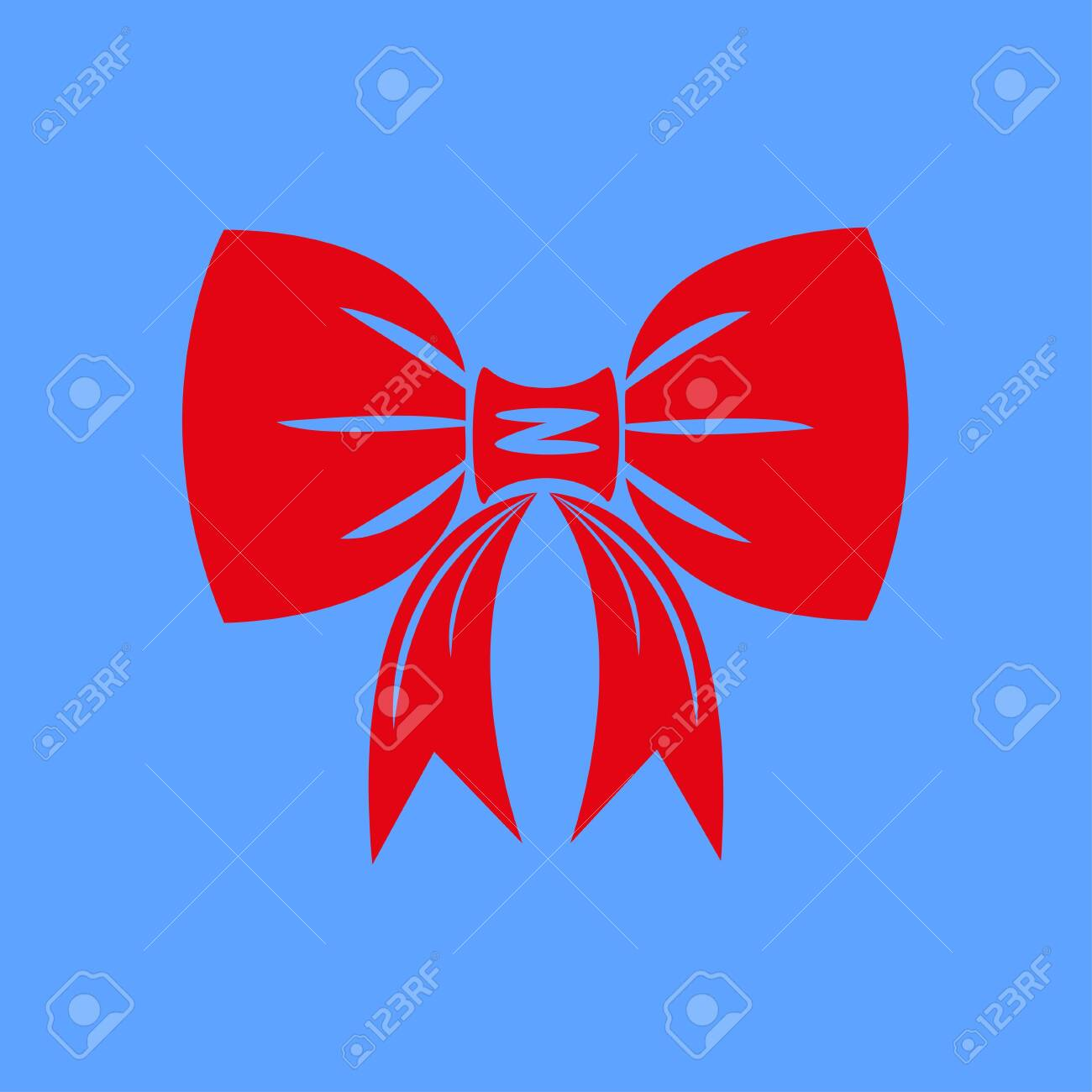 Icon of red bow isolated on blue background. Red bow is suitable for decorating cards for the holidays. Vector illustration EPS 10. - 146542576