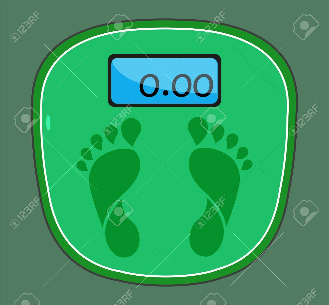 Weight scale foot icon. Scales icon isolated on green background. Vector illustration EPS 10 - 146542911