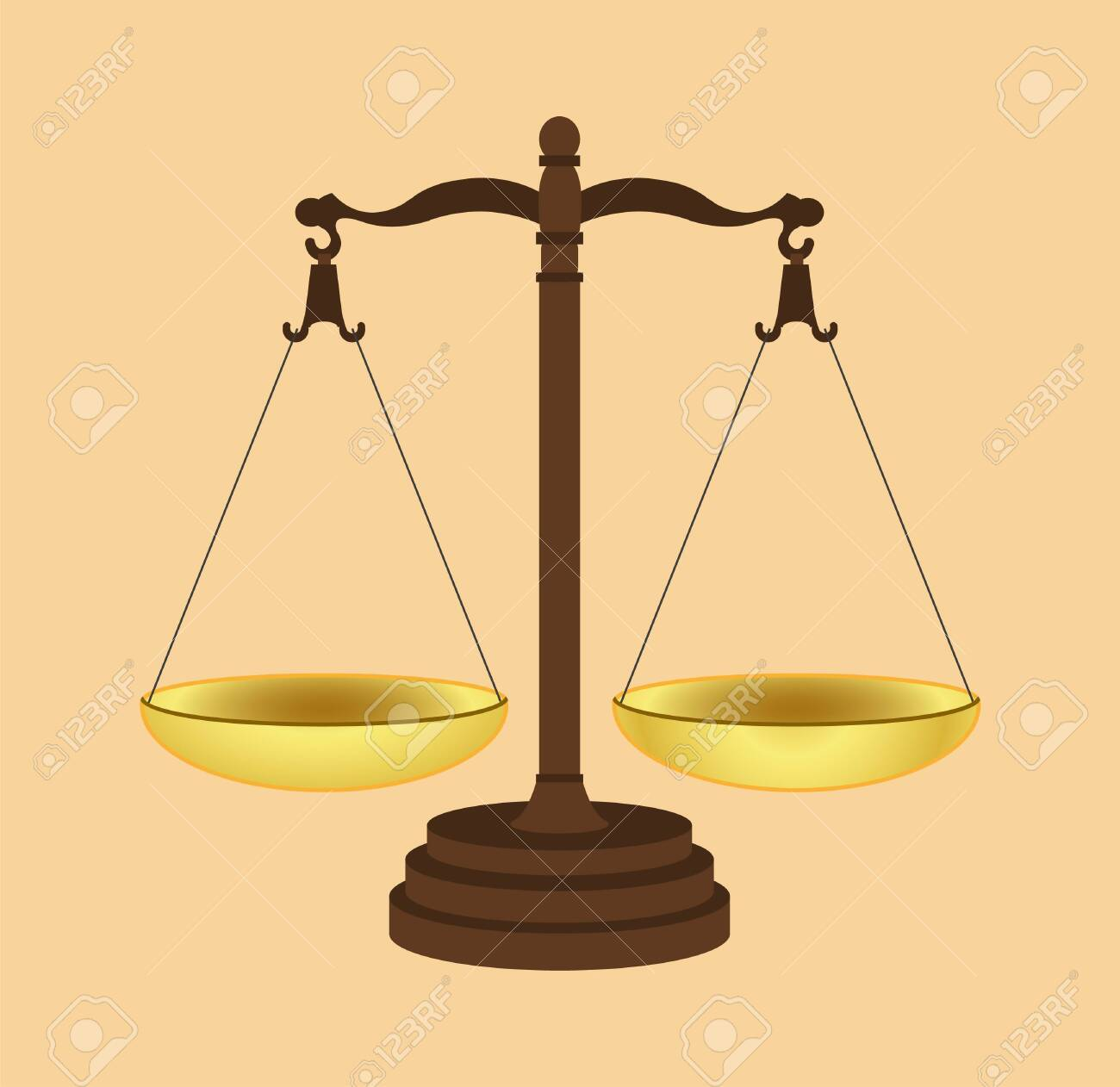 Symbol of justice. Icon of Law Scales Concept. Gold brass balance scale. Vector illustration EPS 10. - 146542253