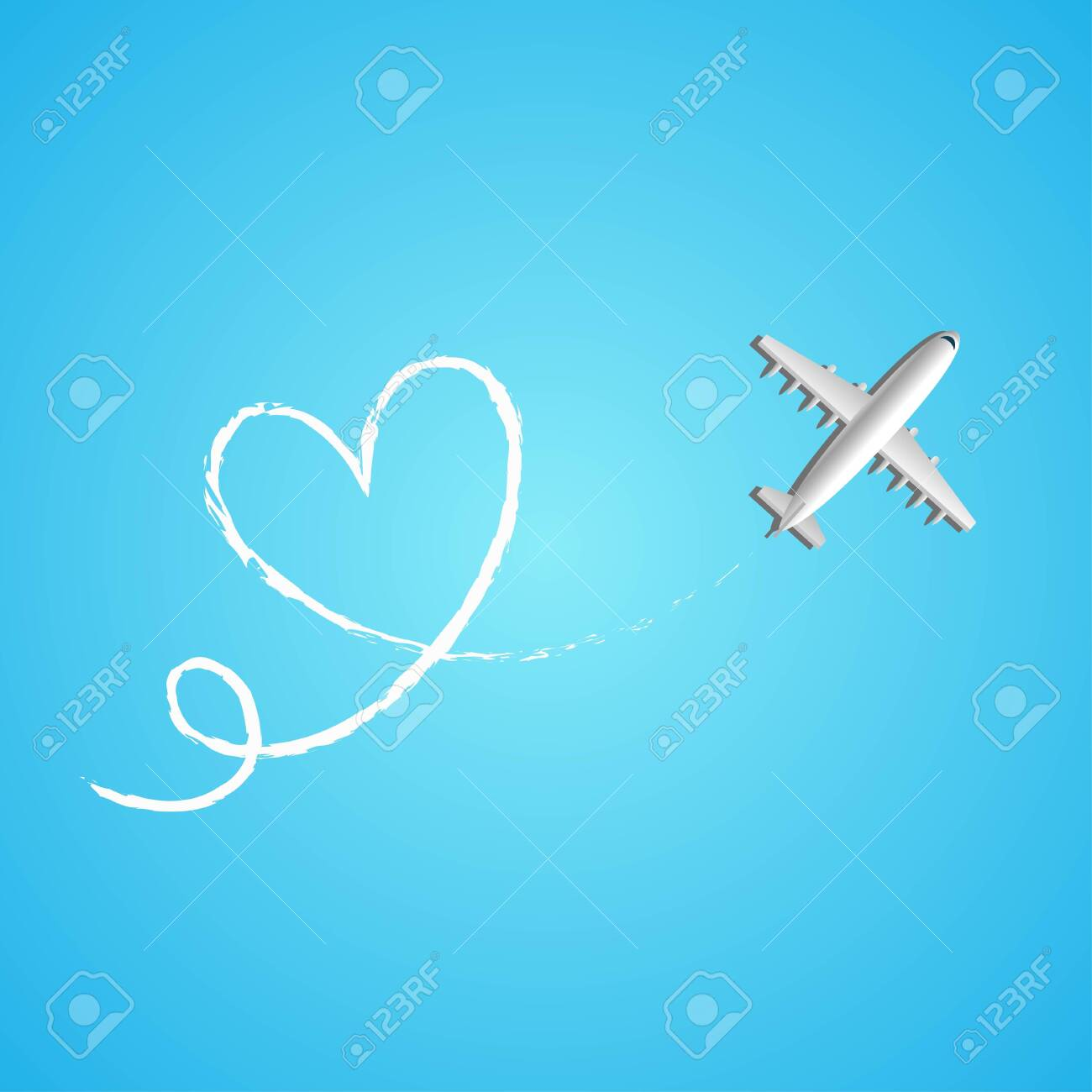 Love travel concept illustration in vector. Airplane flying and leave a white line on blue background. Vector illustration EPS 10. - 146542795