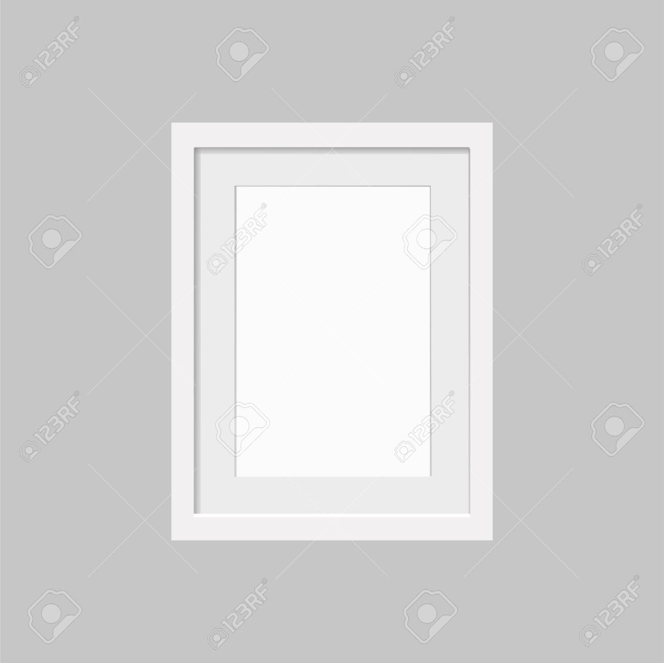 Realistic empty white frame with passepartout isolated on gray background. Border for your creative project, mock-up sample, vector design object. Vector illustration EPS 10. - 146542328