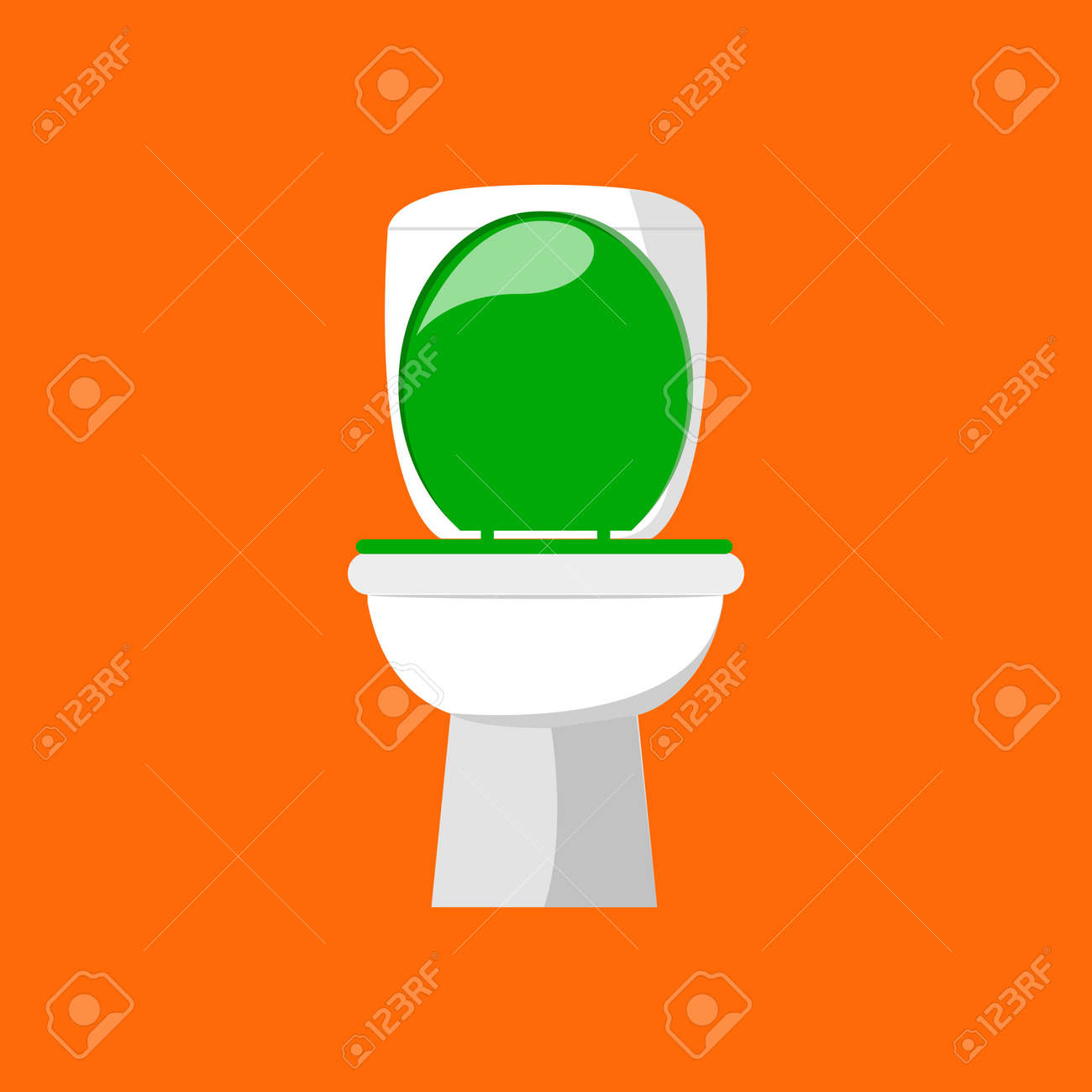 White ceramic toilet in flat style isolated on orange background. Vector illustration EPS 10. - 146957667