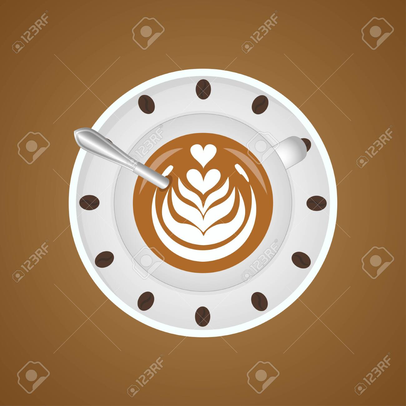 3d realistic coffee in white cup view from the top. Latte art in realistic cups. - 146957666