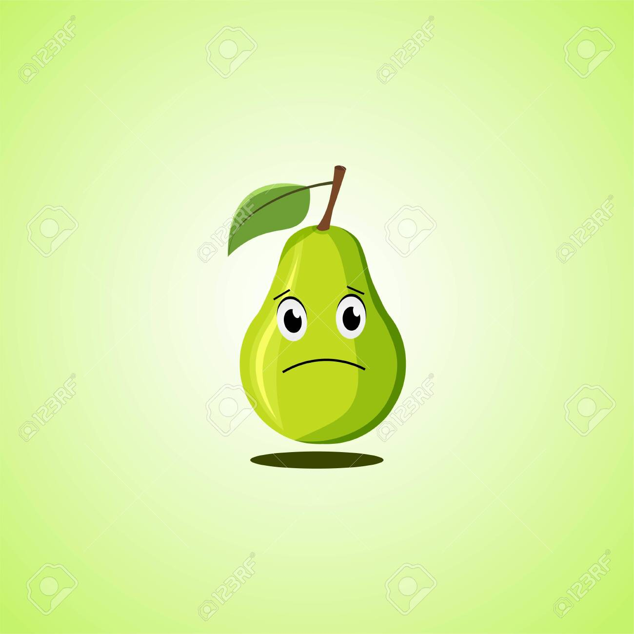 Sad cartoon pear symbol. Cute icon of the pear isolated on green background. Vector illustration EPS 10. - 146548849