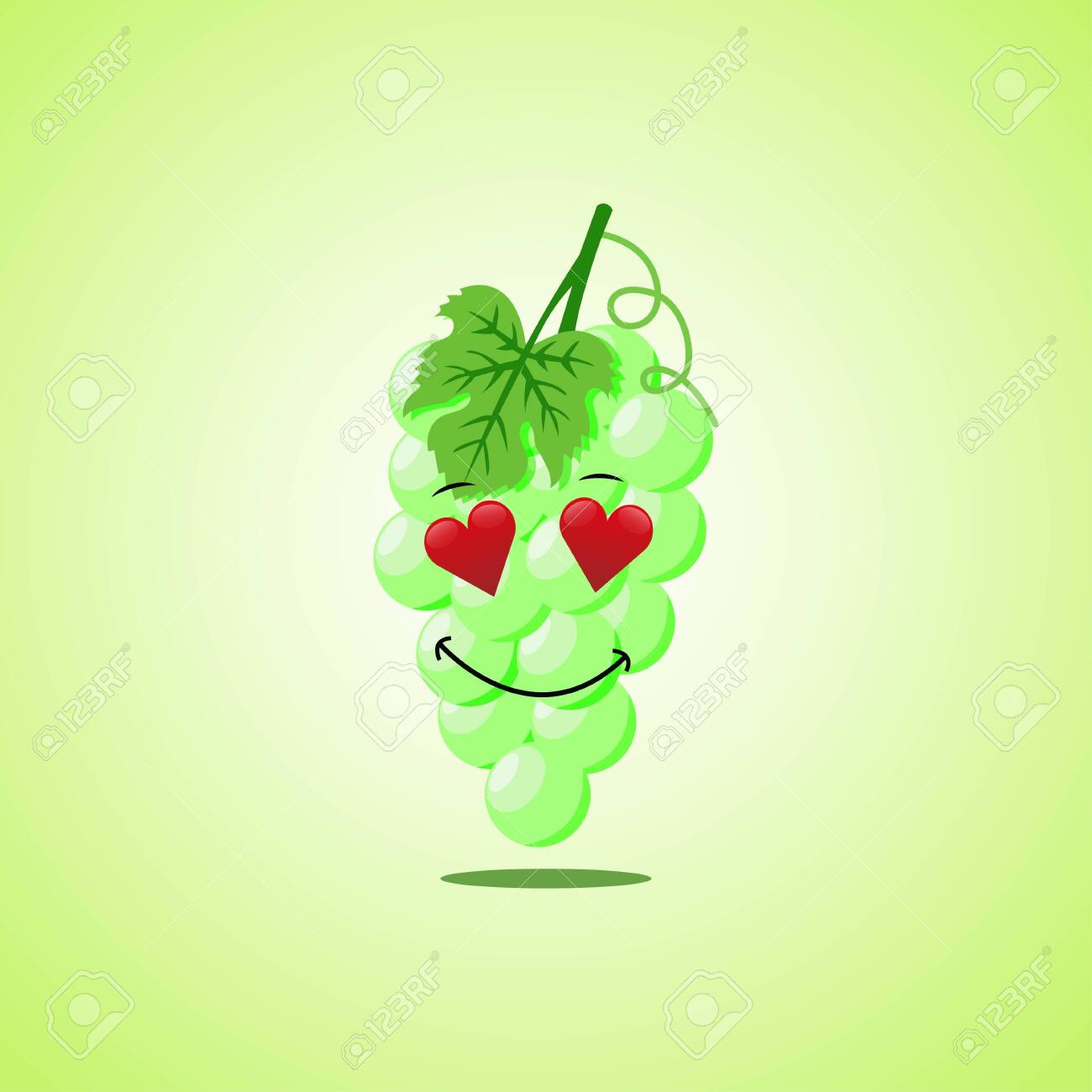 Amorous cartoon white grapes symbol. Cute smiling white grapes icon isolated on green background - 146957675