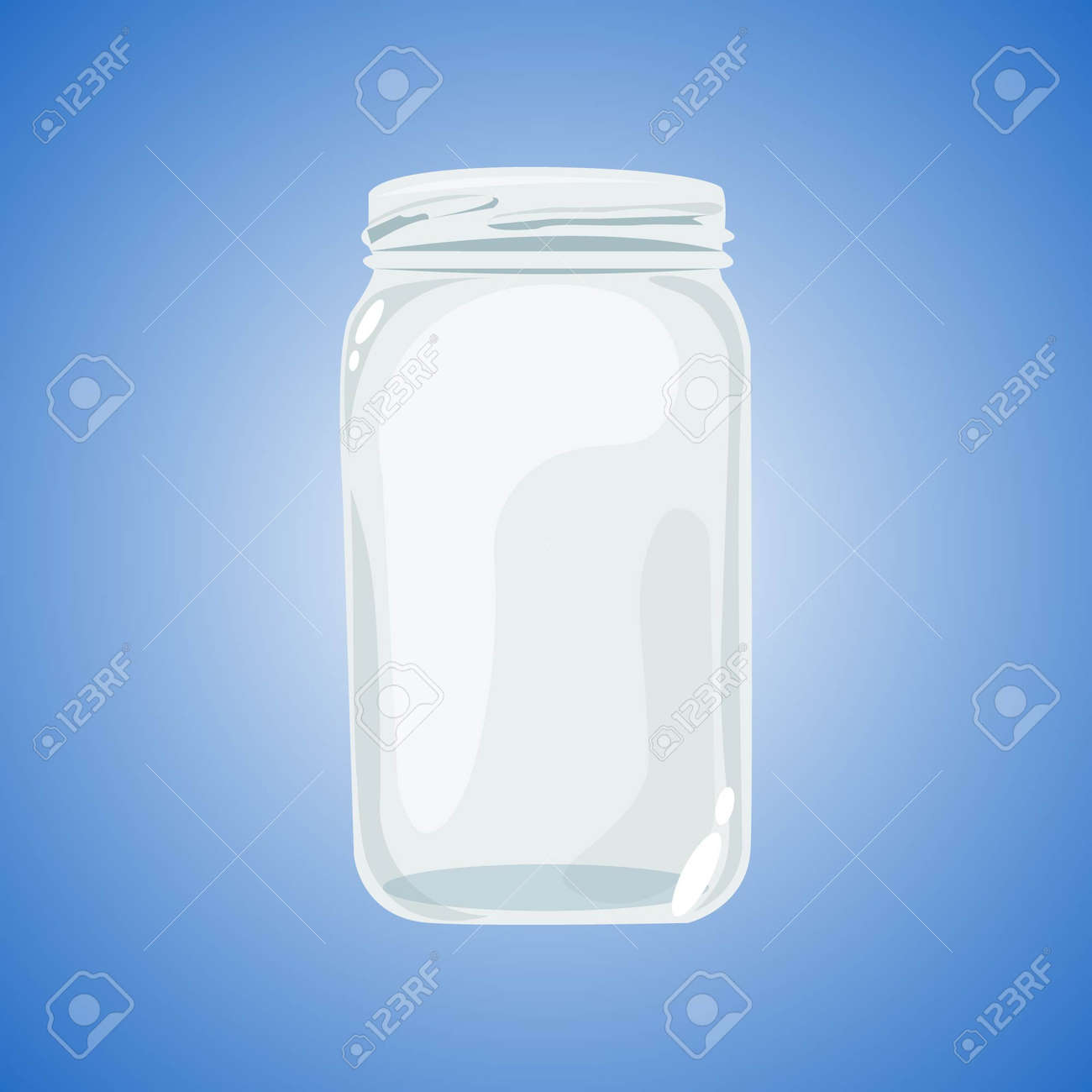 Realistic glass jar isolated on blue background. Empty dishes. - 164571409