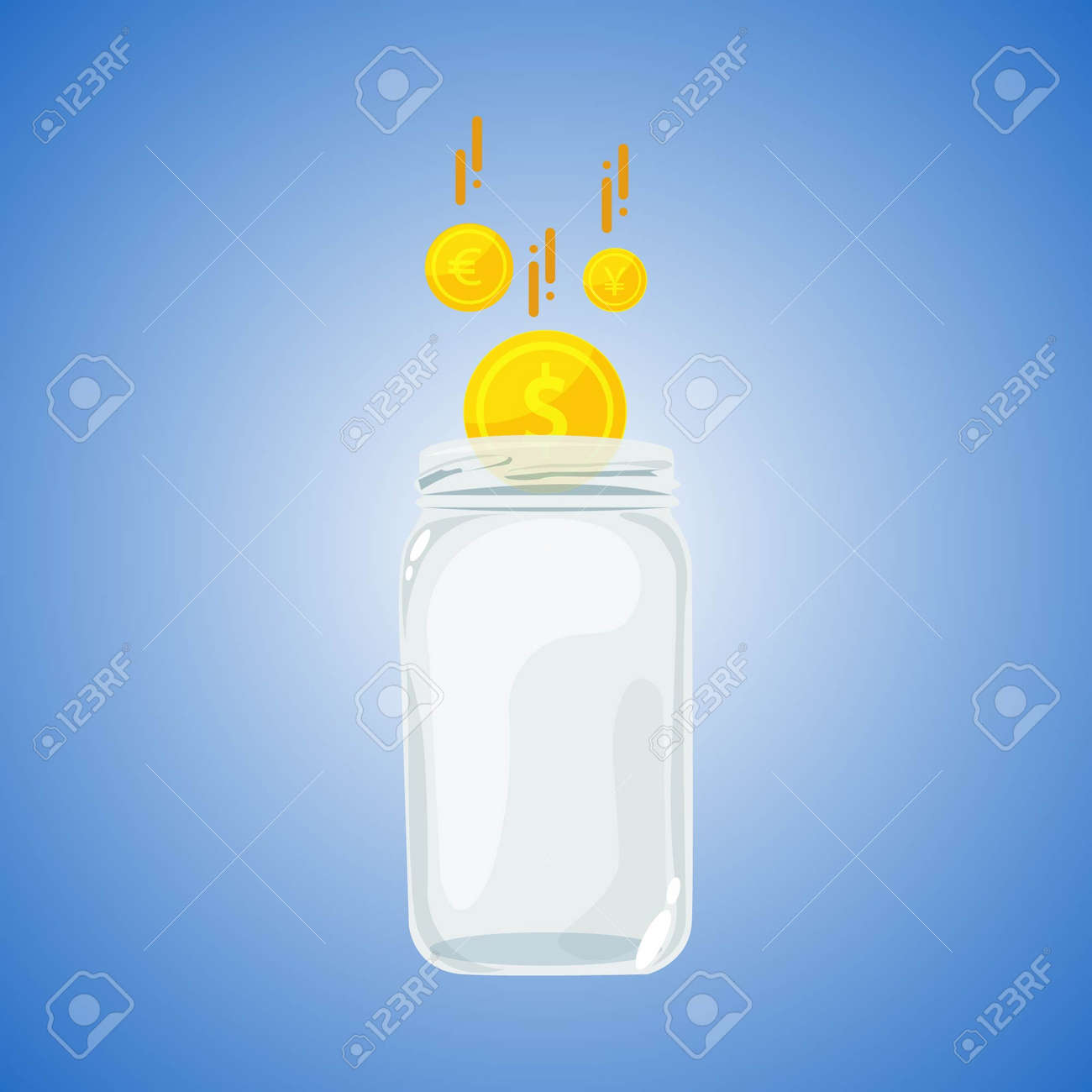 Realistic glass piggy bank isolated on blue background. Piggy bank and dollar, euro and yen coins icon. - 164571578