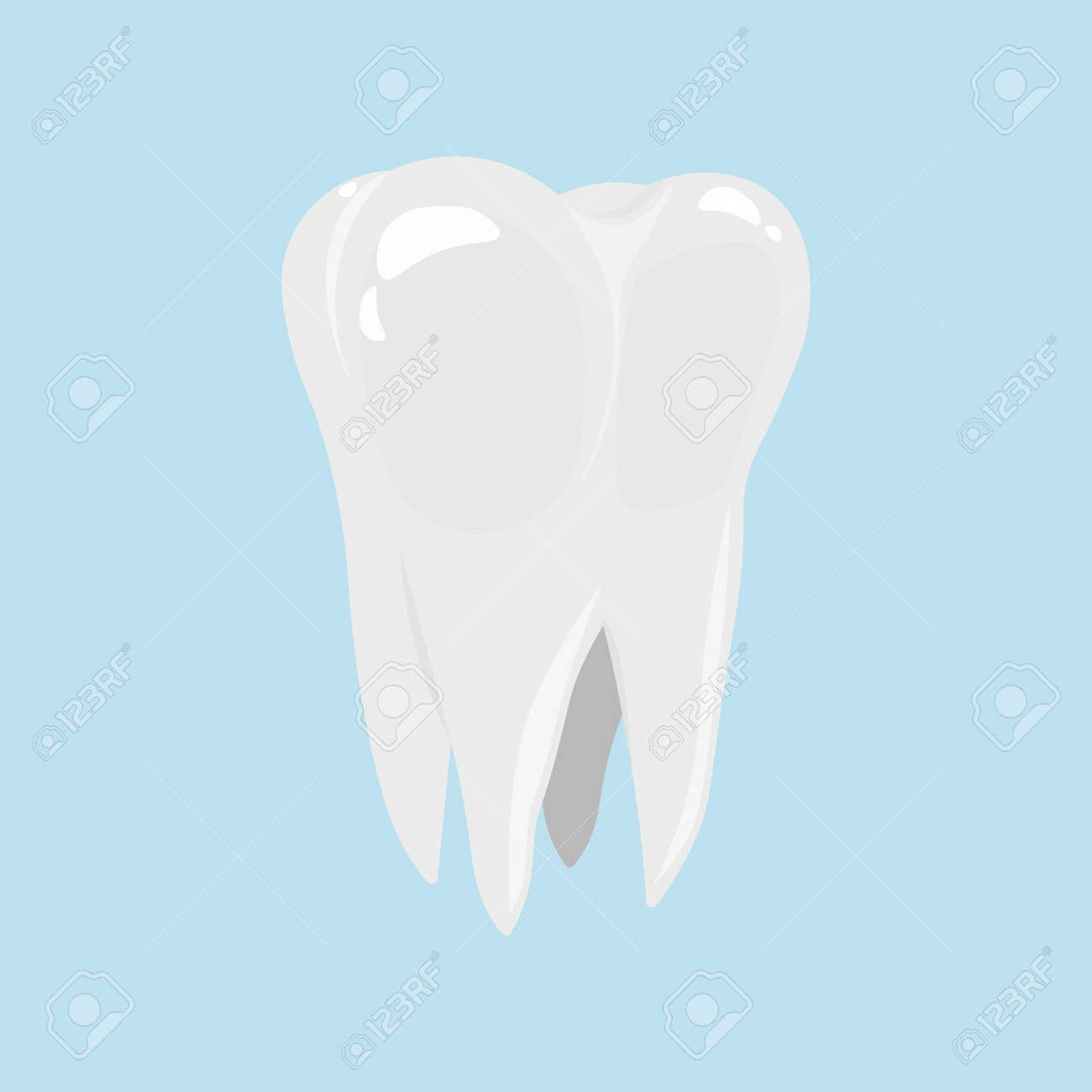 Tooth icon in cartoon style isolated on light blue background. Dental care. - 170322534