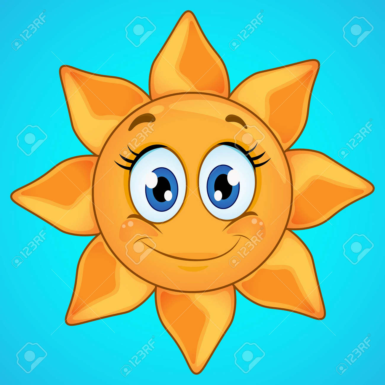 Cartoon smiling sun icon isolated on blue background. Cute sun icon. - 170322541