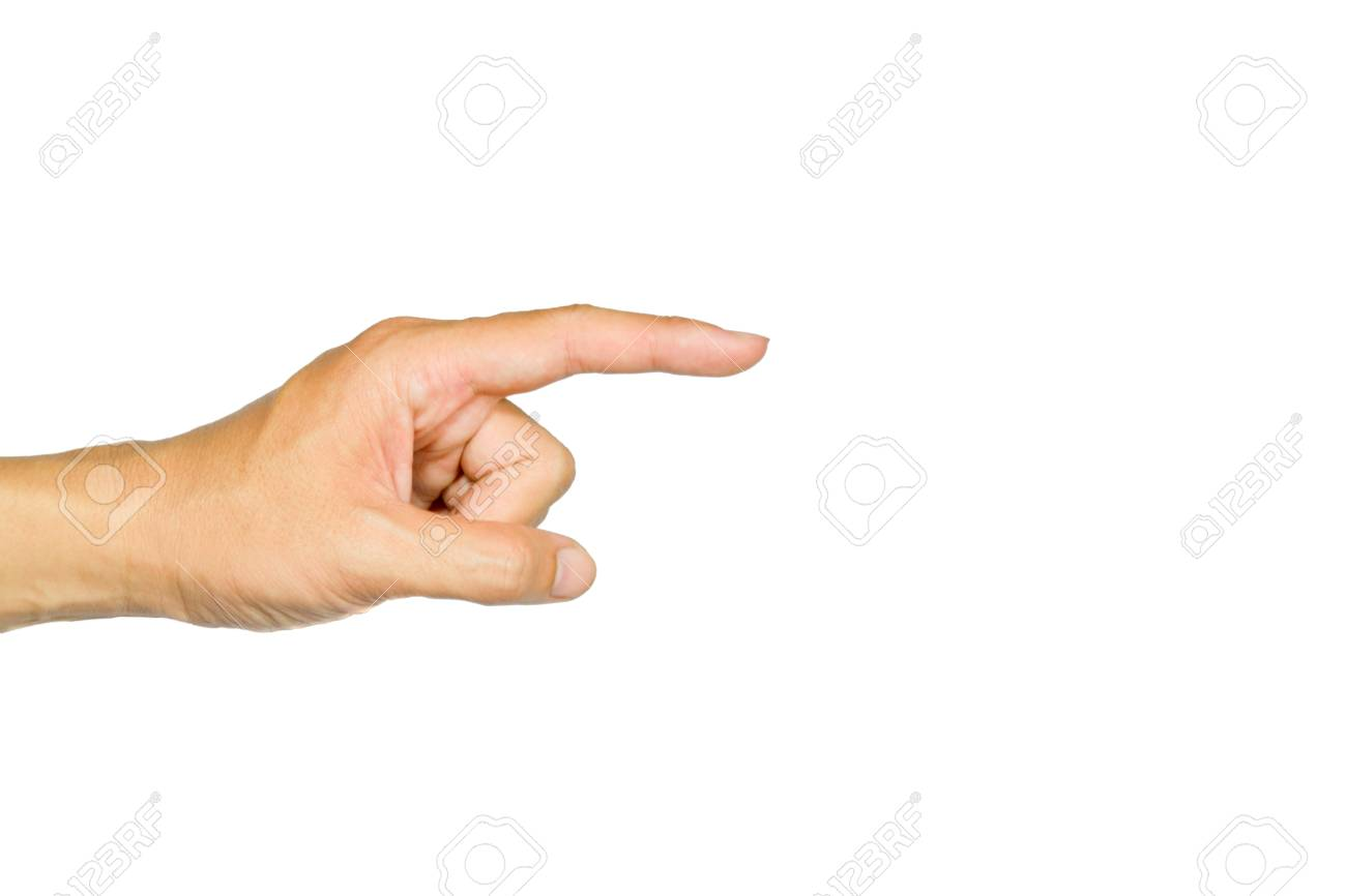The-hand-pointing-is-on-the-white-background Stock Photo - 13582689
