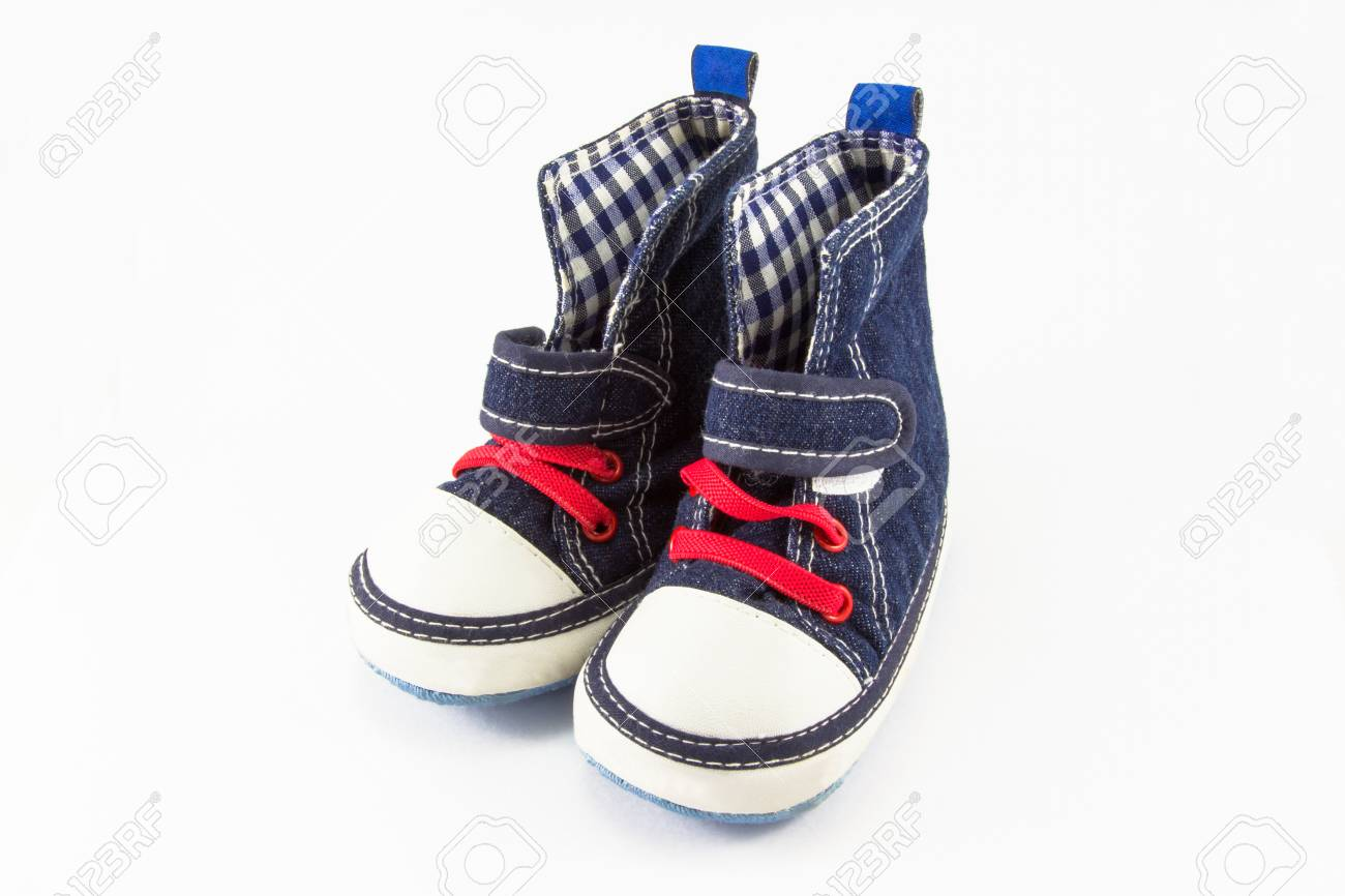 f229a6e10 Blue baby shoes isolated on white background Stock Photo - 30749758