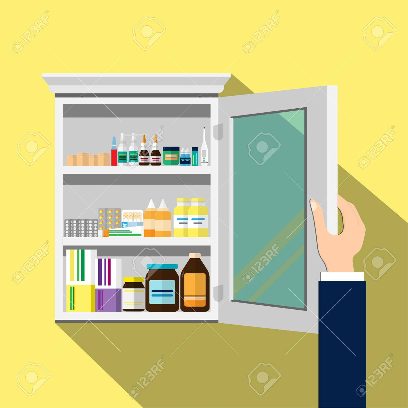 Open The White Wood Medicine Cabinet Yellow Background Vector Royalty Free Cliparts Vectors And Stock Illustration Image 101785040