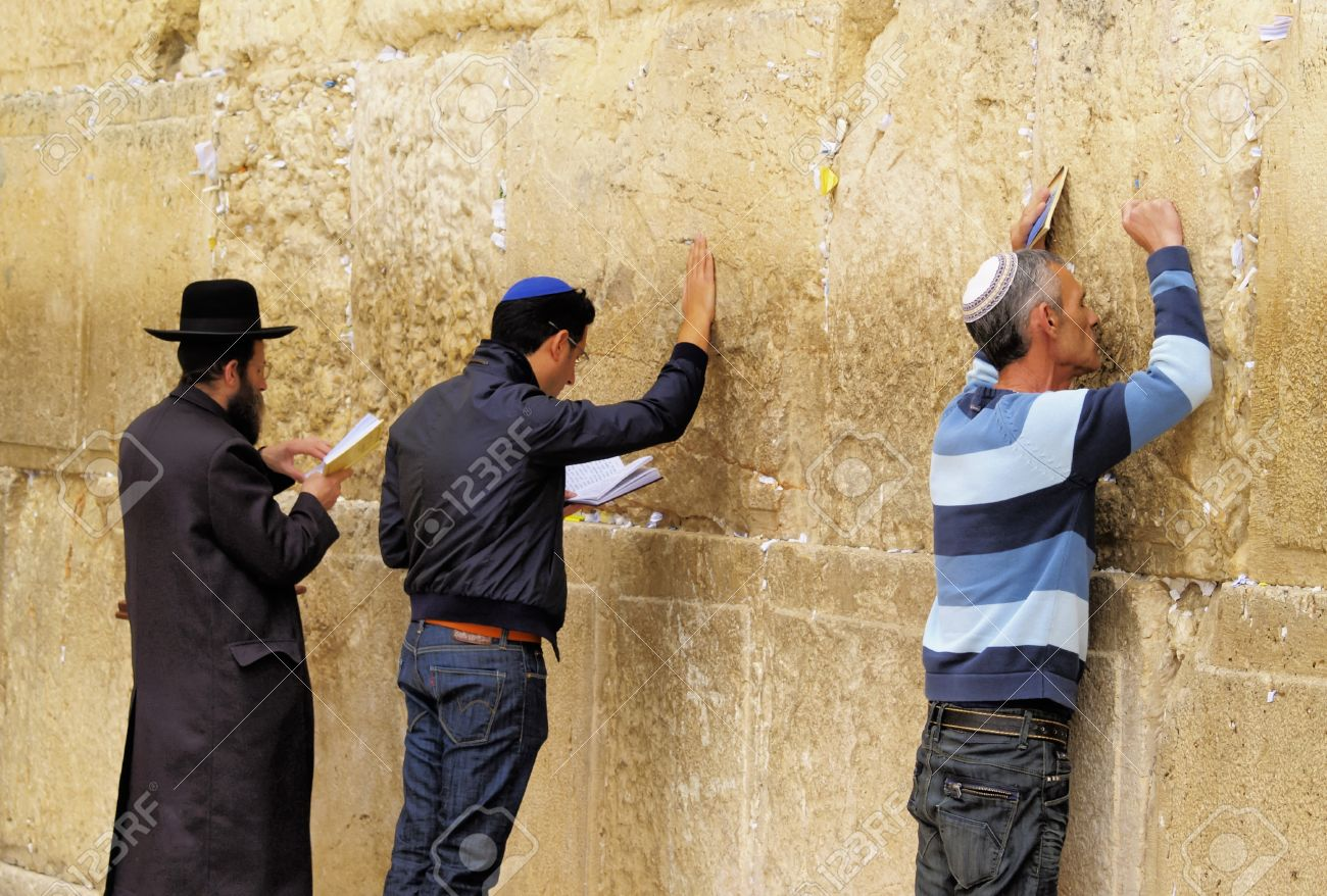 People praying in front of the Wailing Wall, Jerusalem, Israel Stock Photo - 14986203