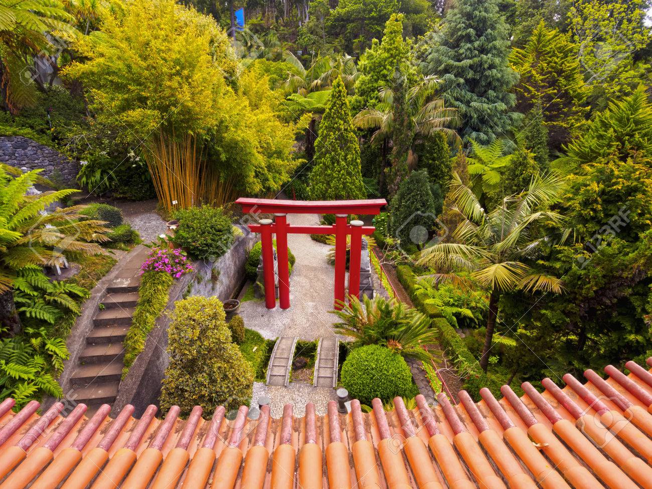 Portugal, Madeira, Funchal, Monte, View Of The Oriental Gardens In The Monte