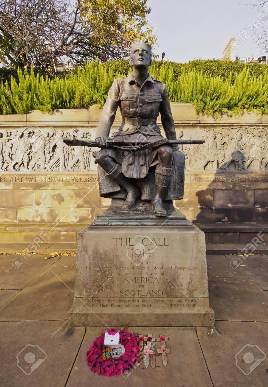 UK, Scotland, Edinburgh, The Call 1914 Monument In The Princes ...