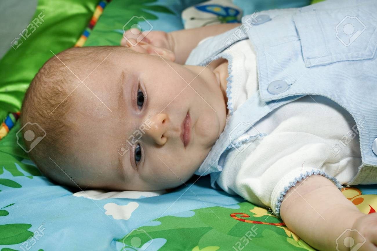 Cute little Baby boy on colorful blanket Stock Photo - 4564543
