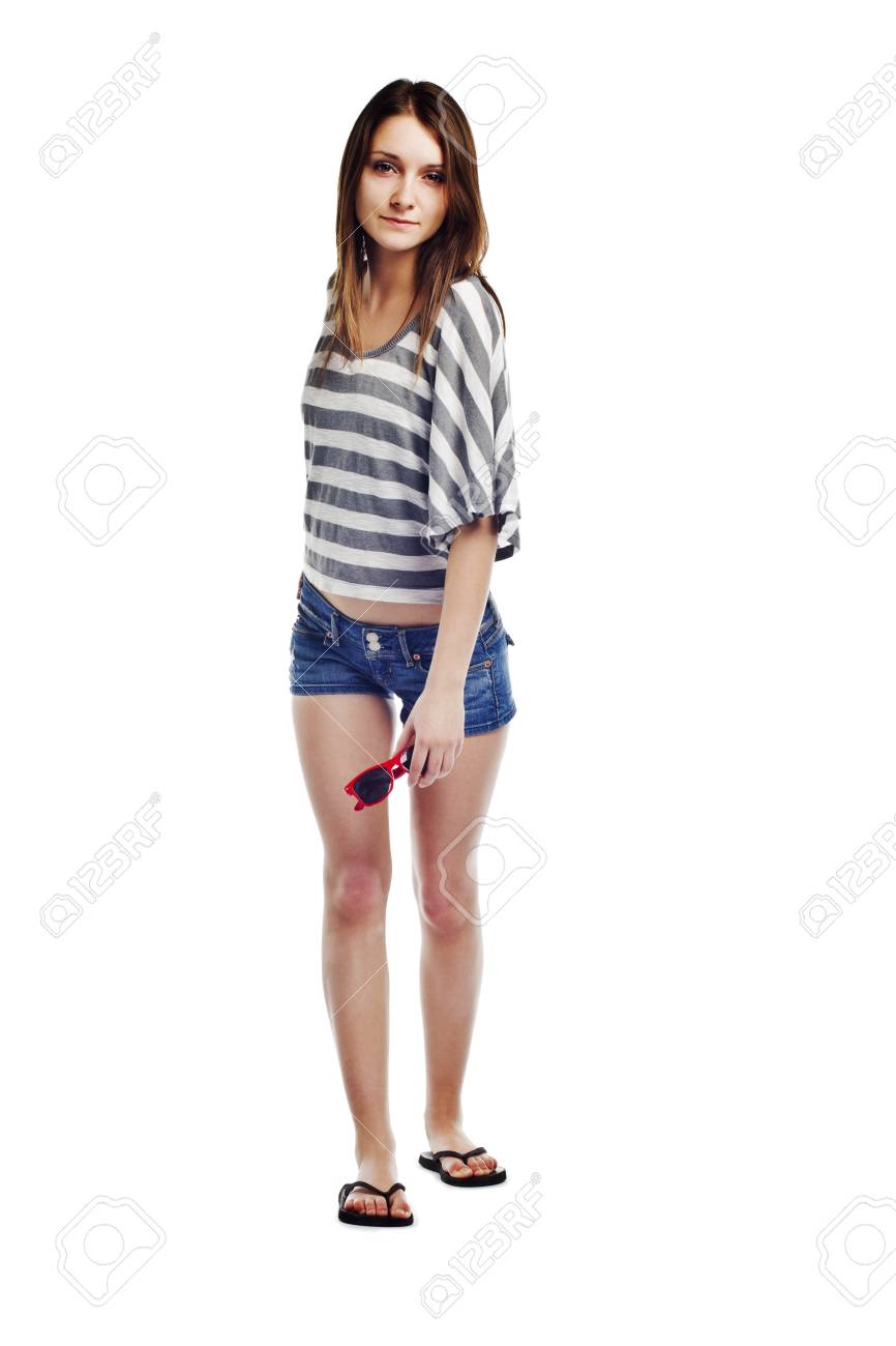 Sexy young female holding sunglasses on white background Stock Photo - 12831978