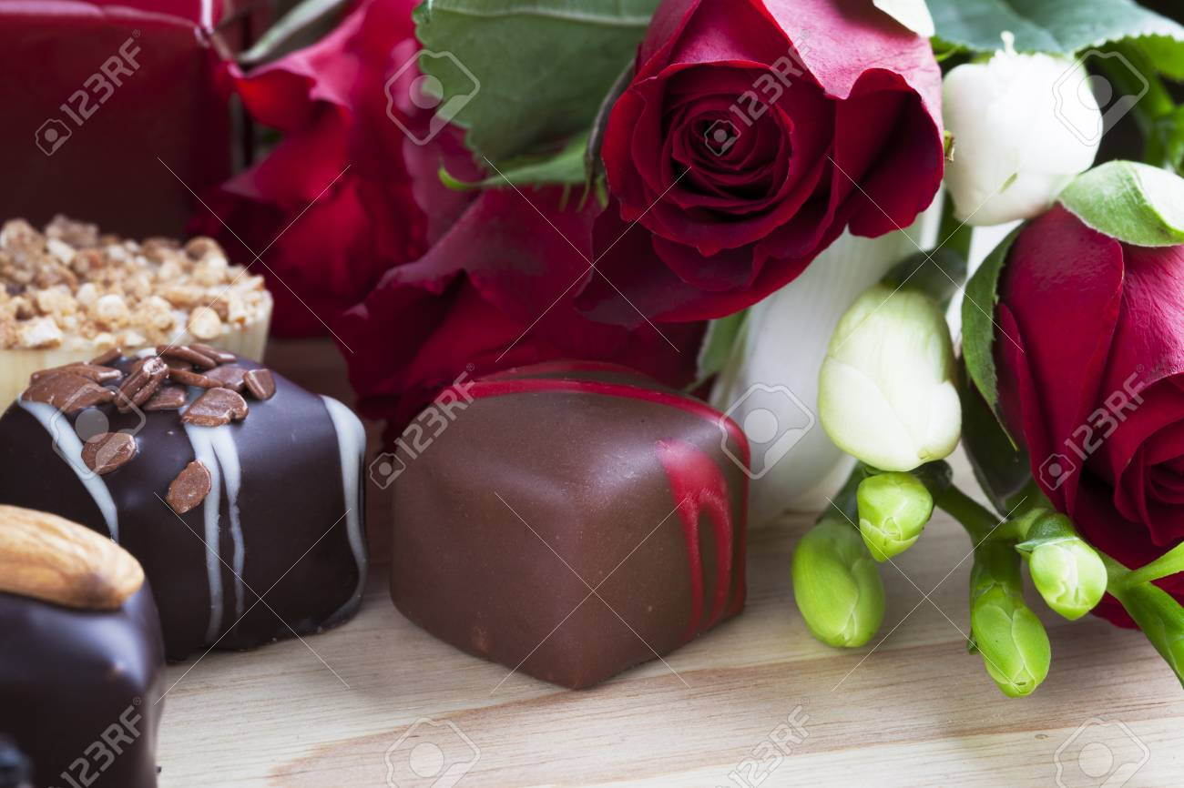 Valentines Day Roses And Chocolates Stock Photo Picture And Royalty