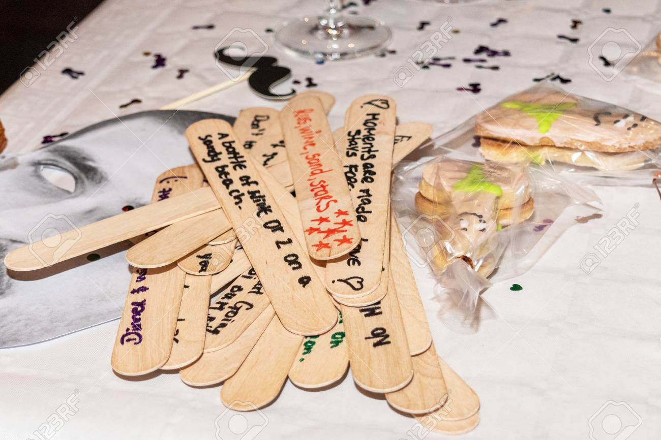 Date Night Jar Messages On Wood Text At A Hens Party For The Stock Photo Picture And Royalty Free Image Image 110877884