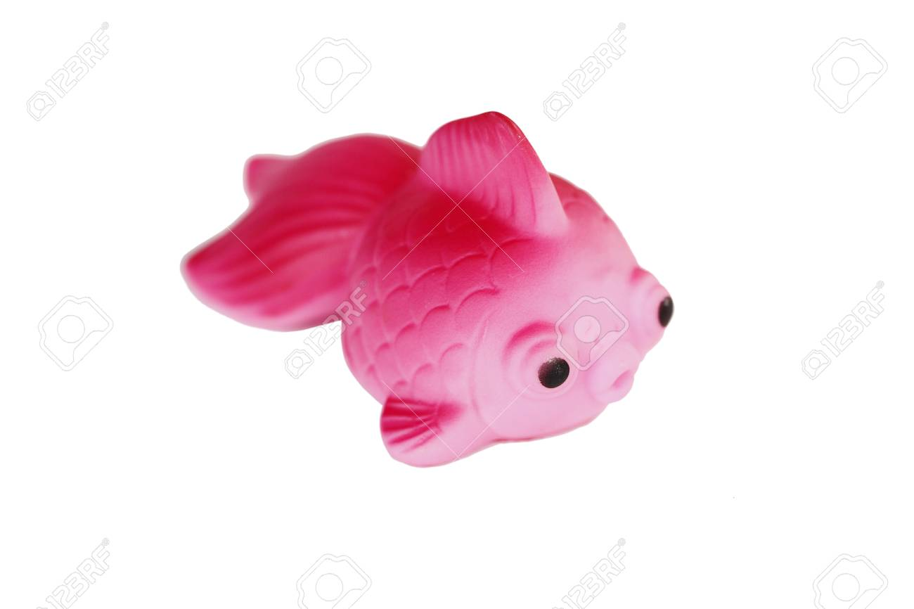 Pink golden fish plastic isolated on white background Stock Photo - 25910260
