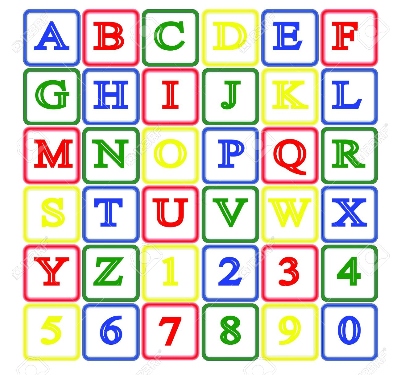 isolated baby block alphabet and number Stock Vector - 11122073
