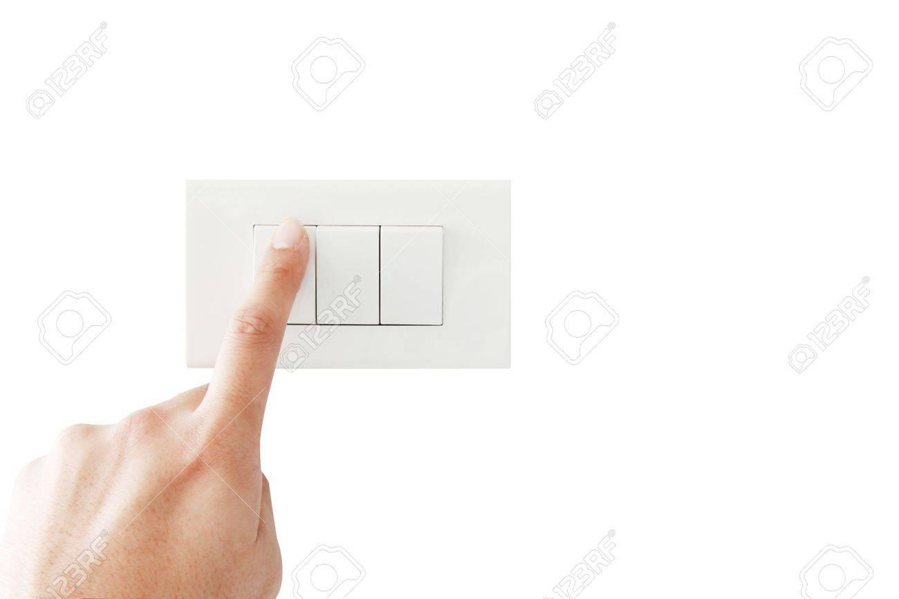 isolated hand close the light switch Stock Photo - 11809660