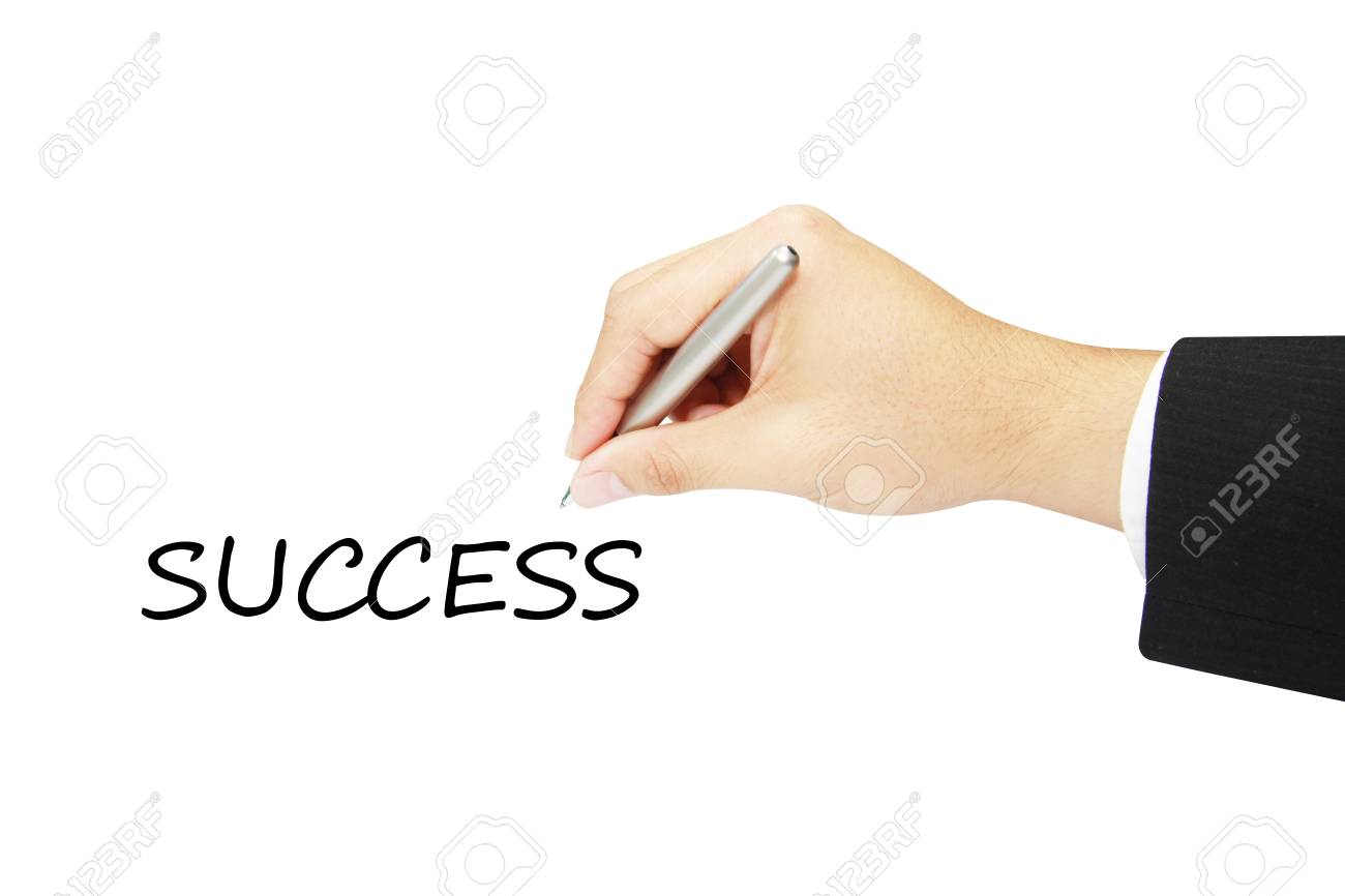 success hand writing in white background Stock Photo - 12459853