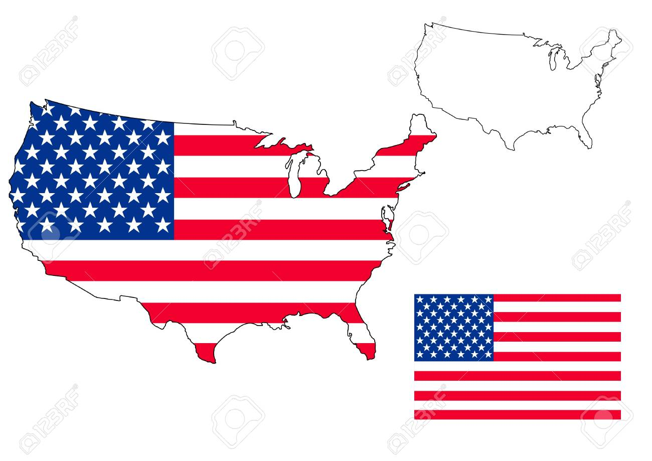 isolated us map with the flag Stock Photo - 14696606