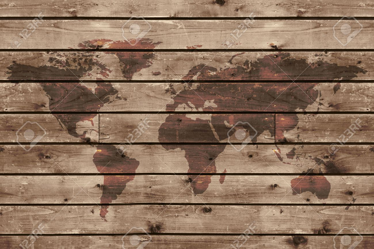 Old Wood Texture With World Map In Vintage Style Stock Photo - Vintage world map on wood