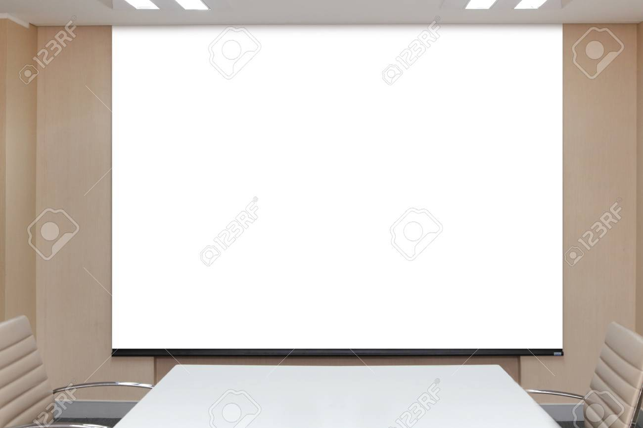 Background Of Blank Projector Canvas In The Office Meeting Room ...