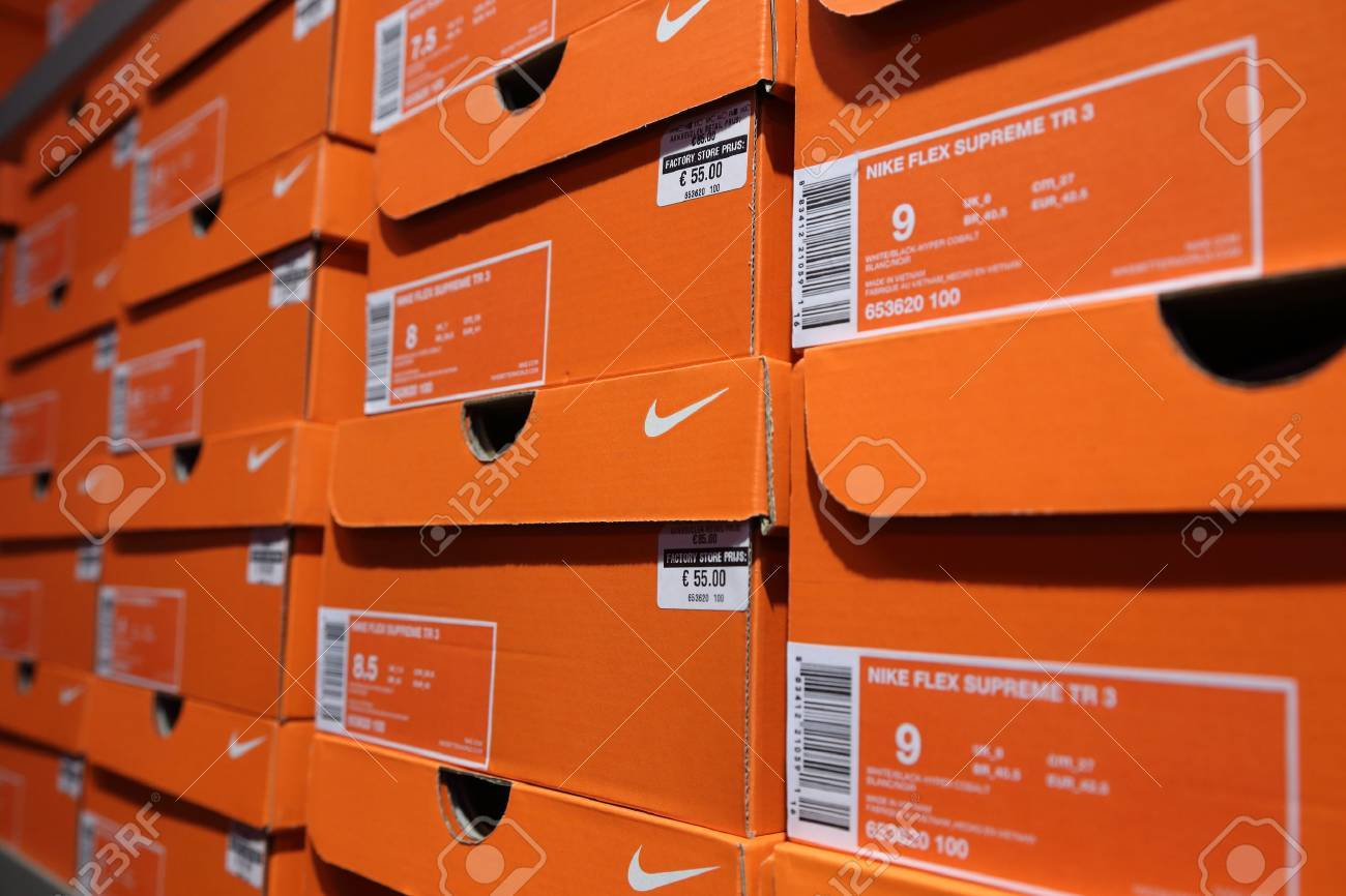 Attractive BELGIUM - OCTOBER 17: Background Of Nike Shoes Boxes At  QJ29