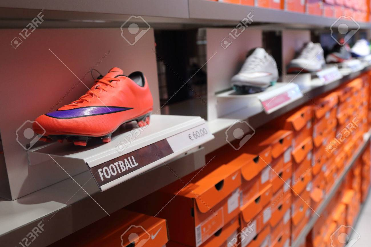 BELGIUM - OCTOBER 17: Background of Nike shoes boxes at Maasmechelen  Village outlet on October