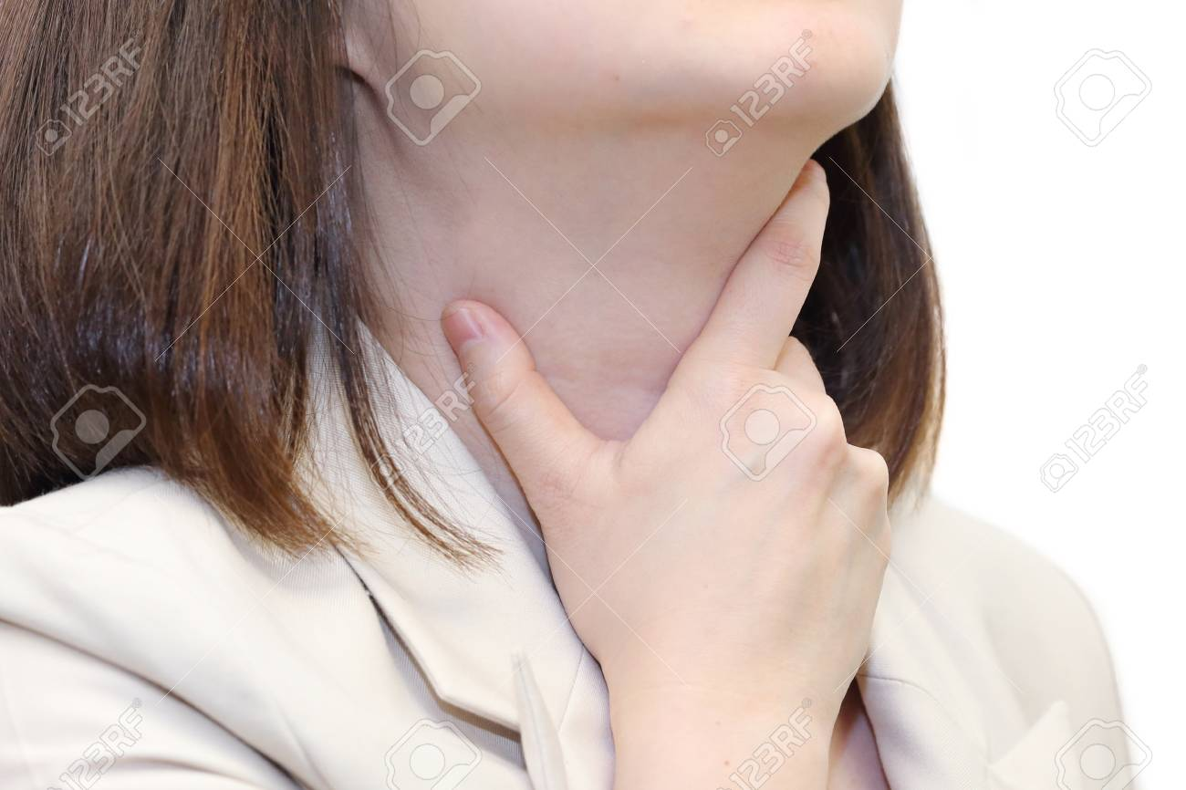 Woman Touch Her Throat Because Of Sore Throat Stock Photo Picture
